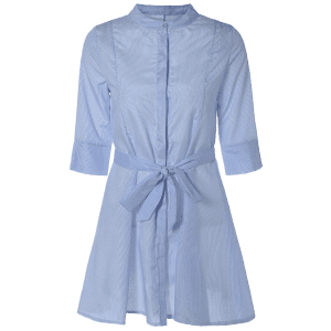 Belted A Line Striped Casual Shirt Dress -