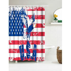 Patriotic American Flag Eagle Water Resistant Fabric Bath Curtain