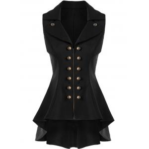 Double Breast High Low Lapel Dressy Waistcoat - Black - M