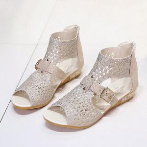Buckle Strap Hollow Out Sandals - LIGHT GOLD 39