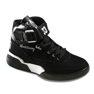 Lace Up Embroidery Casual Shoes - Black White - 40