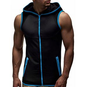 Zip Up Contrast Trim Hooded Vest - Black And Blue - M
