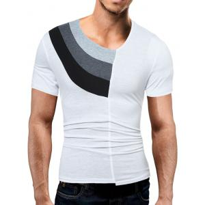 Color Block Panel V Neck Novelty T-Shirts