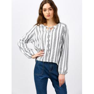 Long Sleeve Self Tie Embroidered Blouse -