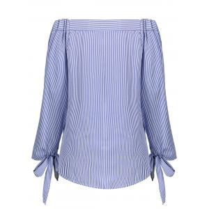 Off The Shoulder Striped Self Tie Blouse - BLUE STRIP PATTERN S
