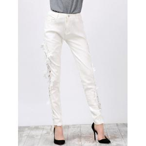 Lace Panel Skinny Pants