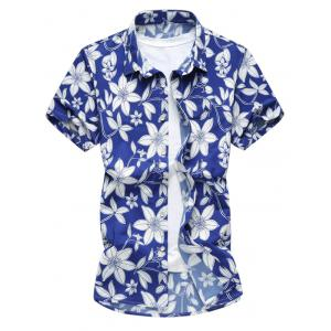 Flowers Print Short Sleeves Hawaiian Shirt