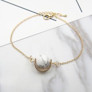 Faux Gem Stone Ball Bead Chain Bracelet - White - Us Plug