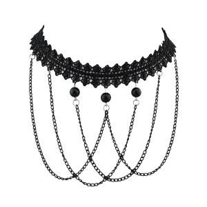 Beads Flower Fringed Lace Choker Necklace
