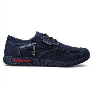 Stitching Zipper Casual Shoes - Deep Blue - 40
