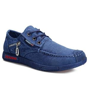 Stitching Zipper Casual Shoes - Blue - 43