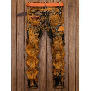 Straight Leg Distress Patch Embellished Jeans - Terreux 32