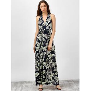 Leaf Print High Slit Backless Halter Neck Long Dress - BLACK XL