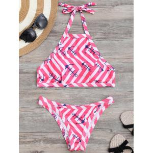 Halter Anchor Striped Bikini Set