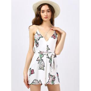 Backless Floral Romper - WHITE S
