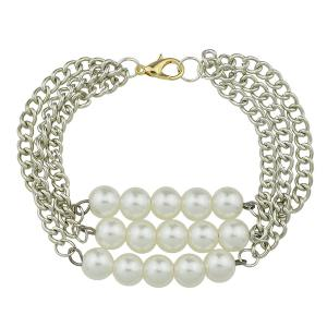 Multilayered Artificial Pearl Chain Bracelet