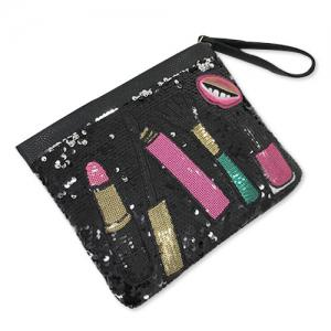 Cosmetic Pattern Sequin Clutch Bag - BLACK