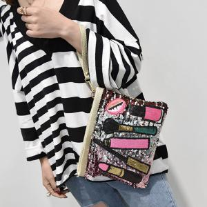 Cosmetic Pattern Sequin Clutch Bag -