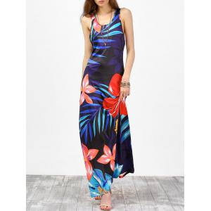 Floral Tropical Print Racer Back Maxi Tank Dress