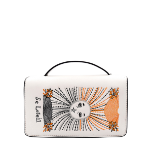 Snake Chain Sun Embroidery Handbag - White