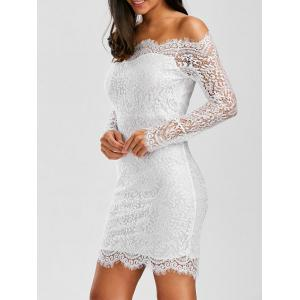 Off Shoulder Lace Short Sheath Cocktail Wedding Dress - White - One Size