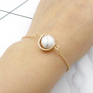 Faux Gem Ball Bead Chain Bracelet - Blanc