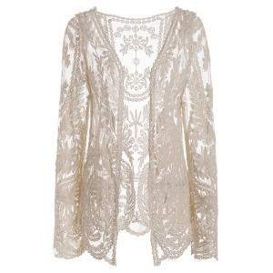 See-Through Leaves Pattern Lace Long Sleeve Blouse - OFF WHITE ONE SIZE(FIT SIZE XS TO M)