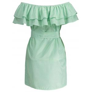 Off The Shoulder Flounce Belted Striped Dress - Vert clair S