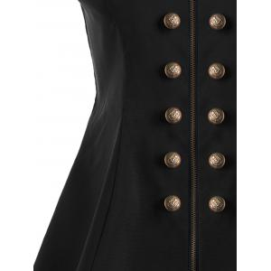 Double Breast High Low Lapel Dressy Waistcoat - BLACK 2XL