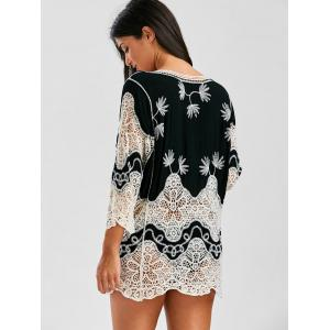 Crochet Lace Insert Plunge Beach Cover Up -