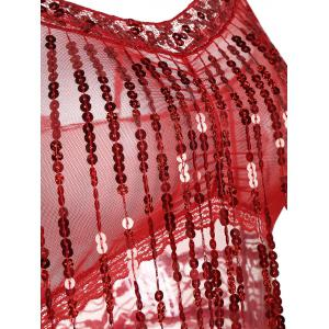 Sequins Lace Fringe Sheer Babydoll - RED ONE SIZE