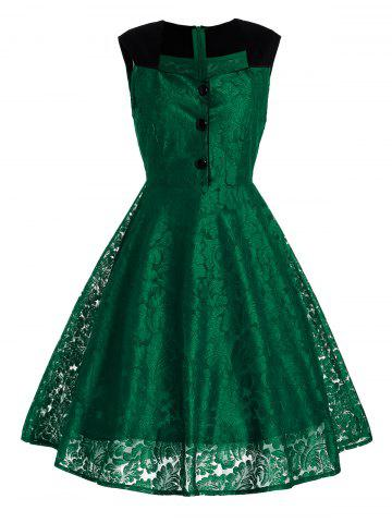 Unique Short Lace Skater Formal Swing Cocktail Dress GREEN S
