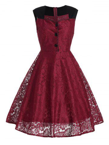 Store Short Lace Skater Formal Swing Cocktail Dress WINE RED 2XL