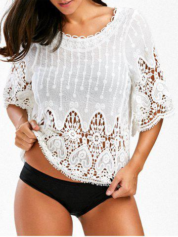 Hollow Out Lace Insert Beach Cover Up - White - One Size
