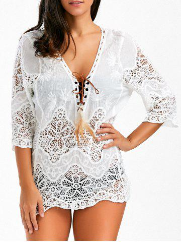 Crochet Lace Insert Plunge Beach Cover Up - White - One Size