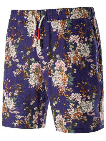 Buy Drawstring Floral Shorts - L PURPLE Mobile
