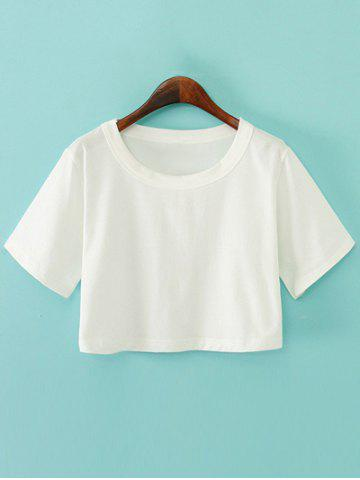 Fashion Round Neck Plain Boxy Jersey Crop Top Tee WHITE ONE SIZE