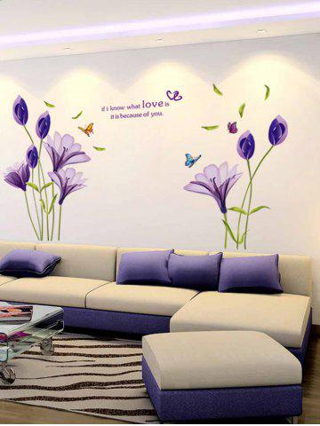 Fashion Butterflies Flower Letter Bedroom Decorative Wall Decals - PURPLE  Mobile