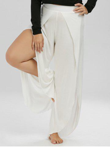 Fancy Plus Size High Slit Wide Leg Pants - XL WHITE Mobile