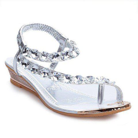 Cheap Rhinestones Low Wedge Sandals - 39 SILVER Mobile