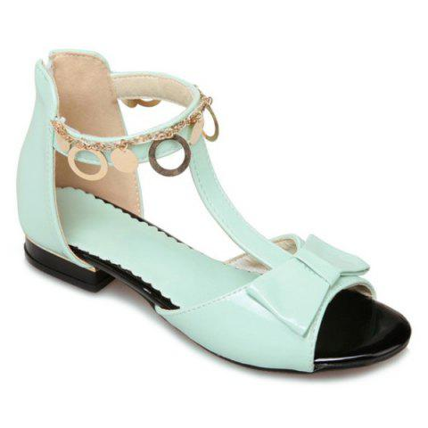 Metal Ring Bow T Strap Flat Sandals - Light Green - 38
