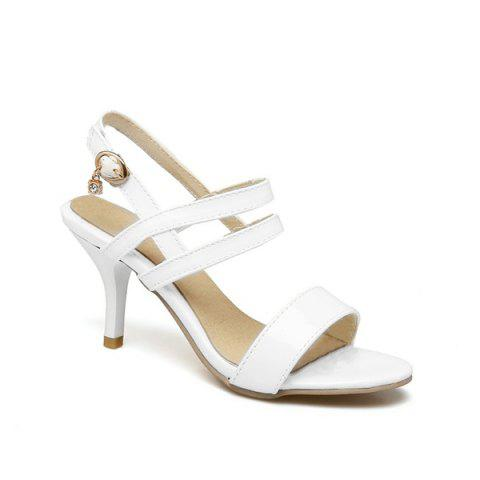 Fancy Patent Leather Mid Heel Sandals