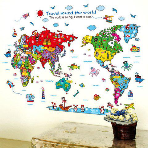 Hot Cartoon The World Map Wall Stickers For Children - COLORMIX  Mobile