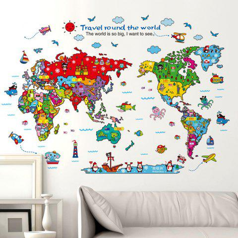 Shops Cartoon The World Map Wall Stickers For Children - COLORMIX  Mobile