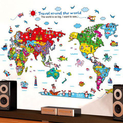 Shop Cartoon The World Map Wall Stickers For Children - COLORMIX  Mobile