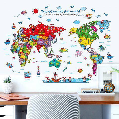 Fashion Cartoon The World Map Wall Stickers For Children - COLORMIX  Mobile