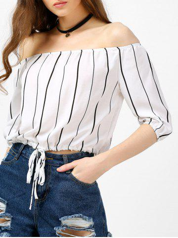 Off The Shoulder Striped Top - White - Xl