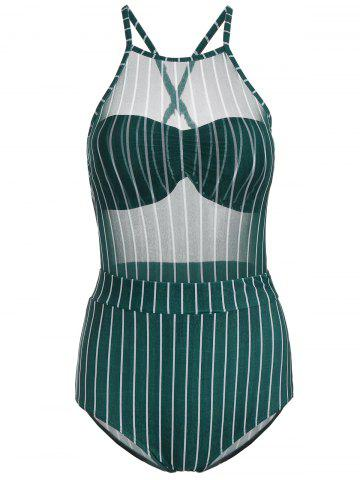 Mesh Sheer Striped Underwire Swimsuit