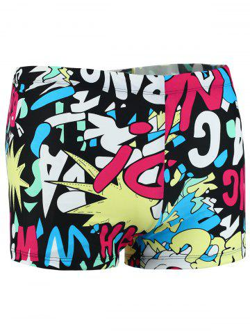 Unique Colorful Graphic Pattern Swimming Trunks - XL COLORMIX Mobile