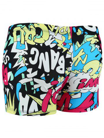 Cheap Colorful Graphic Pattern Swimming Trunks - XL COLORMIX Mobile